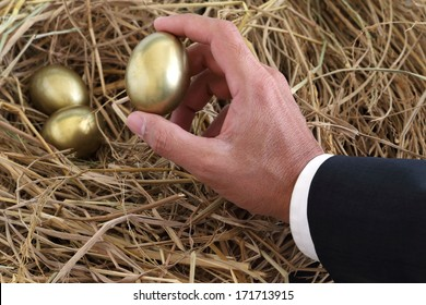 businessman holding golden egg from nest