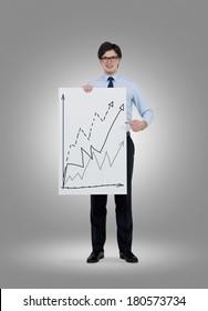 Businessman holding a graph poster