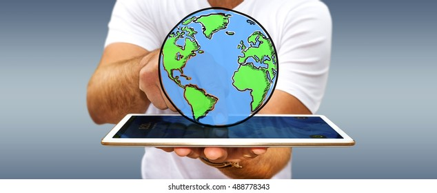 Businessman holding hand drawn planet earth over his mobile phone