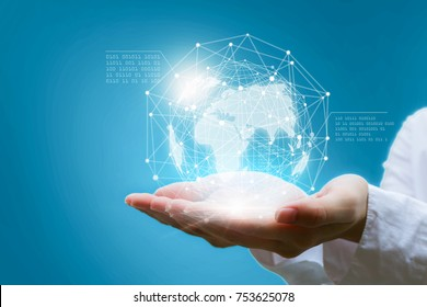 Businessman holding in hand with global connection concept.