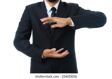 Businessman holding isolated on the whiteboard, Selective focus on the hand.