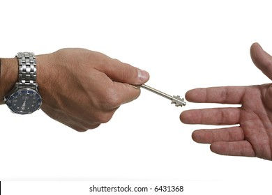 businessman holding the key to success.
