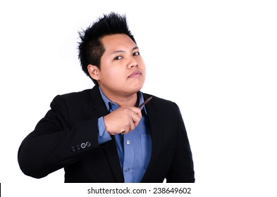 Businessman holding Knife On His Neck Over White Background.