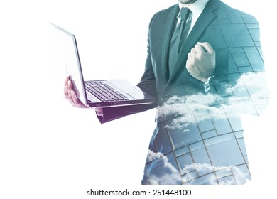 Businessman holding laptop and forming a fist double exposure isolated on white