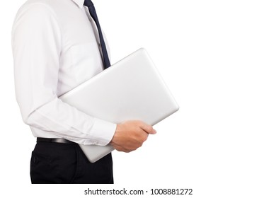 Businessman holding a laptop in his hand on white background.