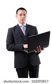 businessman holding laptop isolated on white background