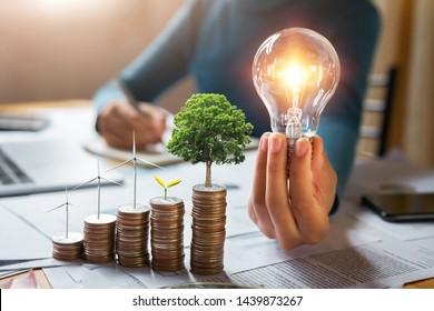 businessman holding lightbulb with turbine and tree grow on coins. concept saving energy and finance accounting