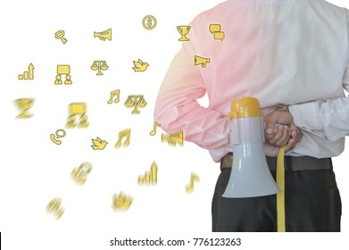 Businessman holding a megaphone.Concepcion confidence or authority can say.Image Icon for Interest.