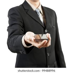Businessman holding mobile phone