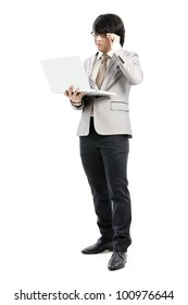 businessman holding on his computer
