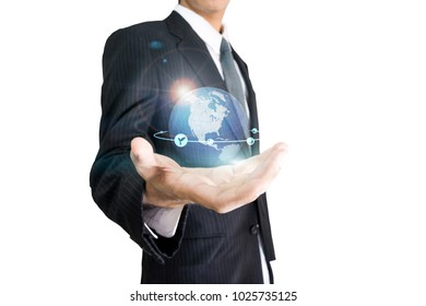Businessman holding open hand, giving showing concept isolate on white background
