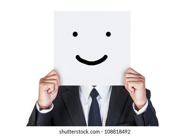 Businessman holding paper show his emotion