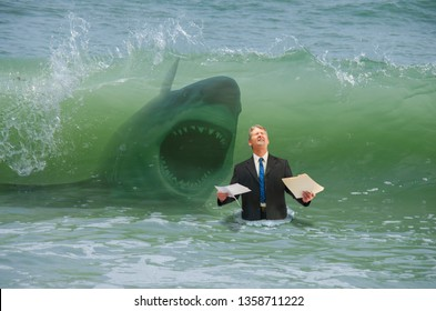 Businessman holding paperwork getting ready to be hit by a big wave and attacked by shark representing drowning in business pressure, deadlines, work stress, overworked, problems and problem solving.