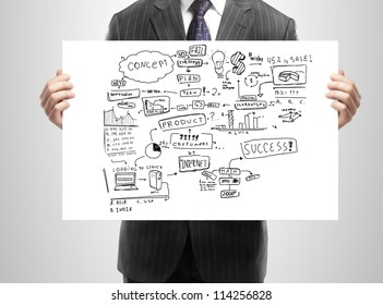 businessman holding plan business strategy