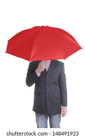 Businessman holding red umbrella with white background