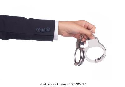 businessman holding shackle isolated on white background