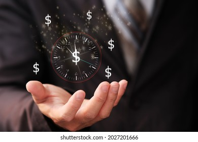 Businessman holding sign clock and business time is money concept, virtual clock with dollar sign for money and time management concept. business growth concept, finance and investment.