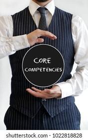 Businessman holding sign: Core Competencies