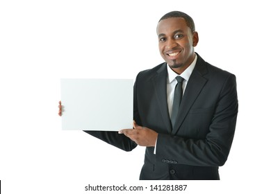 Businessman holding small blank board to be filled in with your ideas and concepts