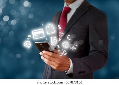 Businessman holding smart phone, online shopping business, e-commerce concept