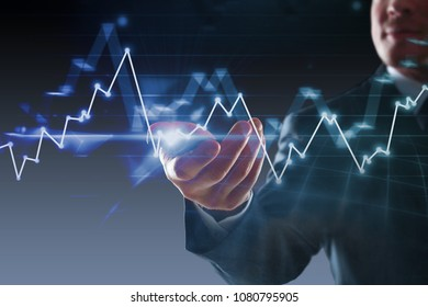 Businessman holding smartphone on abstract blurry background with glowing forex chart. Technology and trade concept. Double exposure