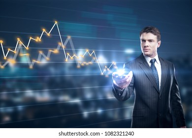 Businessman holding smartphone on abstract blurry city background with glowing forex chart. Technology and trade concept. Double exposure