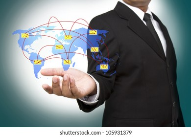 Businessman holding social network and sms