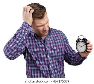 businessman holding stop watch clock