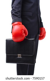 Businessman holding a suitcase with red boxer gloves