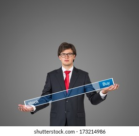 Businessman holding a table 3