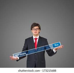 Businessman holding a table 6