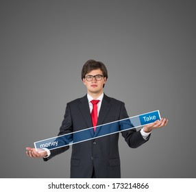 Businessman holding a table 7