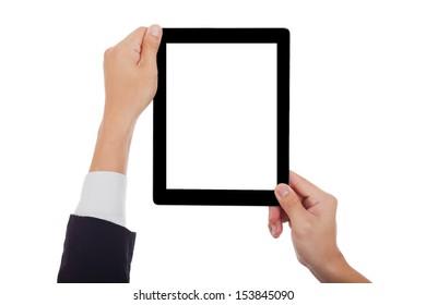 Businessman holding a tablet.