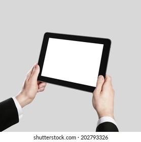 Businessman holding tablet