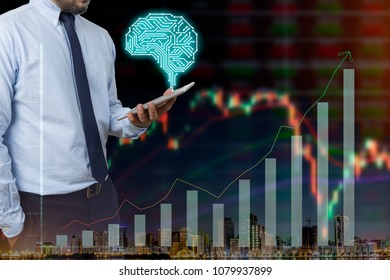 businessman holding a tablet with AI brain and stock market graph