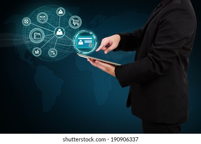 Businessman holding a tablet with Authentication. Concept of security on business.