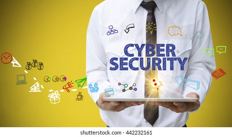 businessman holding a tablet computer with CYBER SECURITY   text ,business analysis and strategy as concept
