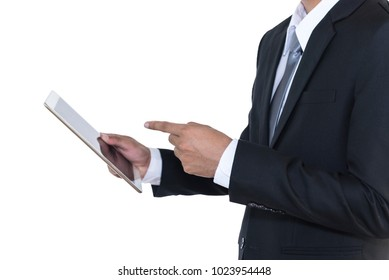 Businessman holding a tablet computer, isolated on white background