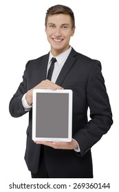 Businessman holding tablet in hands isolated