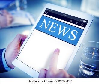 Businessman Holding Tablet News Concept