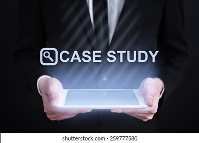 businessman holding a tablet pc with did you know. Internet concept. business concept.