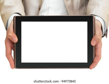 Businessman holding tablet pc with white screen - Shutterstock ID 94973845