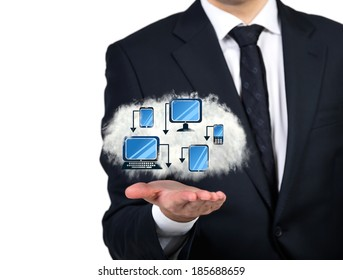 Businessman holding a technological cloud