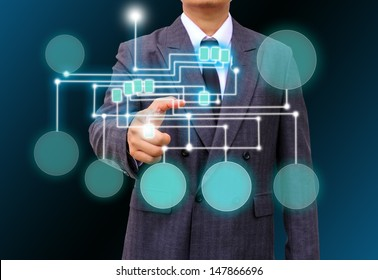 businessman holding a touch screen interface