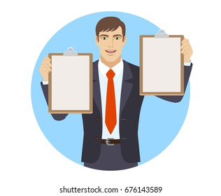 Businessman holding two clipboards. Portrait of businessman character in a flat style. Raster illustration.