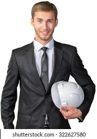 Businessman holding white hardhat