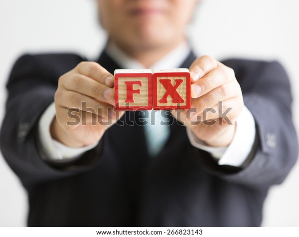 Businessman Holding Wooden Blocks Etched Letters Stock Photo Edit