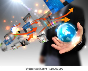 businessman holding world, connected