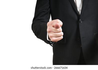businessman holds fig sign close up - hand gesture