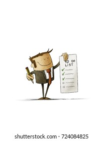 businessman holds in his hand a to-do list and in the other hand a pencil. Isolated, white background